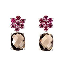 Unheated Antique Smoky Quartz & Rhodolite Earrings