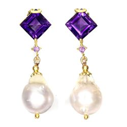 Natural Pearl & Amethyst Earrings