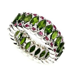 Natural Ruby & Russian Chrome Diopside Ring