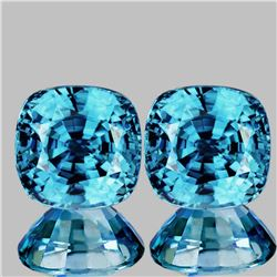 Natural Cushion Intense Blue Zircon 5.50 MM Pair - FL