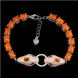 Natural Ethopian Oval Orange Fire Opal Cobra  bracelet