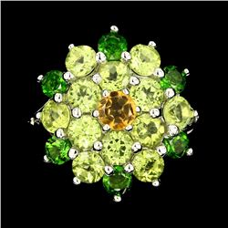 Natural Citrine Chrome Diopside Peridot  Ring
