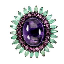 Natural Columbian Emerald  Amethyst Garnet Ring