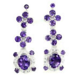 Ravishing Oval 10x8 Mm Intense Purple Amethyst Earrings