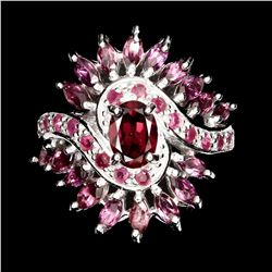 Natural Oval Marquise Rhodolite Garnet Ruby Ring