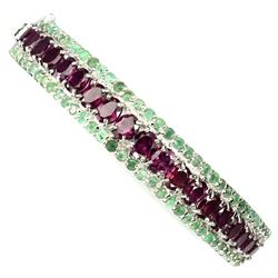Natural Rhodolite Garnet & Columbian Emerald Bangle