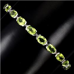 Natural Oval Cut 7x5mm Top Rich Green Peridot Bracelet