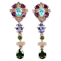 NATURAL CHROME DIOPSIDE TANZANITE APATITE Earring