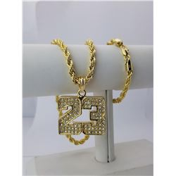 AWESOME 14 Kt. GOLD PLATED ROPE CHAIN PENDANT