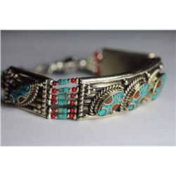 Tibet Hand Made Turquoise & Coral Bracelet