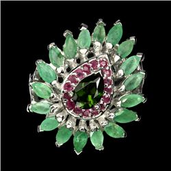 Natural Chrome Diopside Emerald Ruby Ring