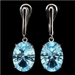 Natural Concave Cut16x12mm Blue Topaz Earrings