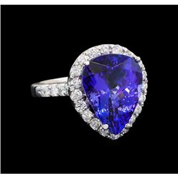 GIA Cert 7.70 ctw Tanzanite and Diamond Ring - 14KT White Gold