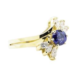 1.21 ctw Sapphire And Diamond Ring And Band - 14KT Yellow Gold