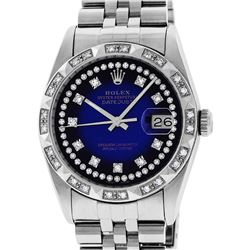 Rolex Mens Stainless Steel Blue Vignette Pyramid Diamond Bezel Datejust Wristwat
