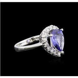 2.33 ctw Tanzanite and Diamond Ring - 14KT White Gold