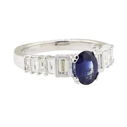 1.85 ctw Sapphire and Diamond Ring - 18KT White Gold