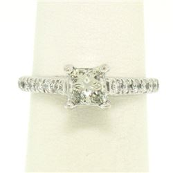 14K White Gold 1.32 ctw H VS1 Prong Set Princess Cut Diamond Engagement Ring Sz