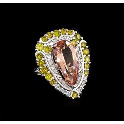 9.04 ctw Morganite and Diamond Ring - 18KT White Gold
