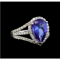 18KT White Gold 3.62 ctw Tanzanite and Diamond Ring
