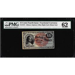 1863 Fifteen Cents Fourth Issue Fractional Currency Note Fr.1271 PMG Uncirculated 62