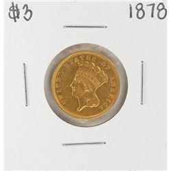 1878 $3 Indian Princess Head Gold Coin