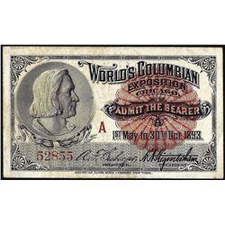 1893 World's Columbian Exposition Ticket Washington