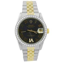 Rolex Ladies Datejust 18KT Yellow Gold & Steel 31mm Silver Roman Diamond Dial Watch