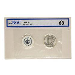 1886 $1 Morgan Silver Dollar Coin GSA Soft Pack NGC MS63