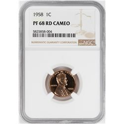 1958 Proof Lincoln Wheat Cent Coin NGC PF68RD Cameo