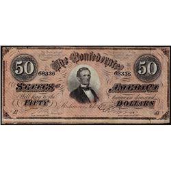 1864 $50 Confederate States of America Note