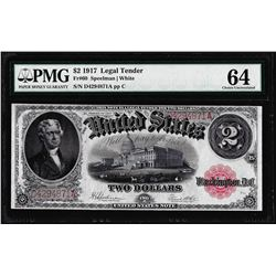 1917 $2 Legal Tender Note Fr.60 PMG Choice Uncirculated 64
