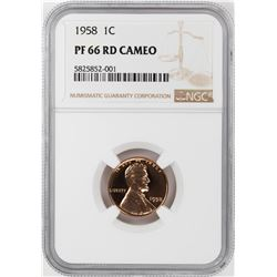 1958 Proof Lincoln Wheat Cent Coin NGC PF66RD Cameo