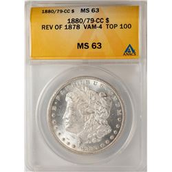 1880/79-CC Reverse of 1878 VAM-4 $1 Morgan Silver Dollar Coin ANACS MS63 Top 100