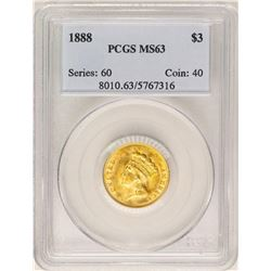 1888 $3 Indian Princess Head Gold Coin PCGS MS63