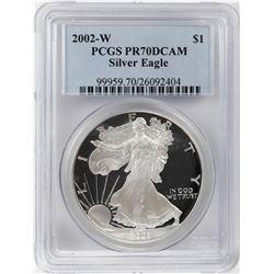 2002-W $1 Proof American Silver Eagle Coin PCGS PR70DCAM