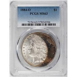 1884-O $1 Morgan Silver Dollar Coin PCGS MS63 Amazing Toning