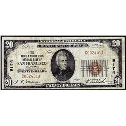 1929 $20 Anglo & London Paris NB San Francisco, CA CH# 9174 National Currency Note