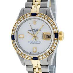 Rolex Ladies Two Tone 14K MOP Diamond & Sapphire Datejust Wriswatch