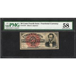 1863 50 Cent Fourth Issue Lincoln Fractional Currency Note PMG About Uncirculated 58