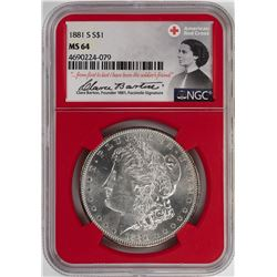 1881-S $1 Morgan Silver Dollar Coin NGC MS64 American Red Cross
