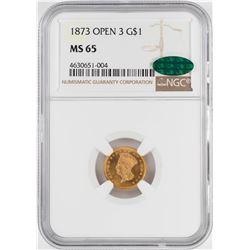 1873 Open 3 $1 Indian Princess Head Gold Dollar Coin NGC MS65 CAC