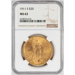 1911-S $20 St. Gaudens Double Eagle Gold Coin NGC MS63