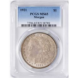 1921 $1 Morgan Silver Dollar Coin PCGS MS65