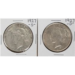 Lot of 1927-S & 1927-D $1 Peace Silver Dollar Coins