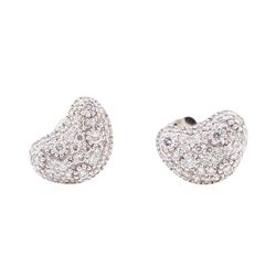 14KT White Gold 0.50 ctw Diamond Kidney Bean Shape Stud Earrings