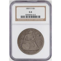 1859-O $1 Seated Liberty Silver Dollar Coin NGC G6