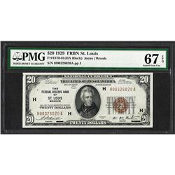 1929 $20 Federal Reserve Note St. Louis Fr.1870-H PMG Superb Gem Unc 67EPQ