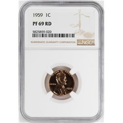 1959 Proof Lincoln Memorial Cent Coin NGC PF69RD