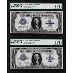 (2) Consecutive 1923 $1 Silver Certificate Note Fr.238 PMG Choice Uncirculated 64EPQ